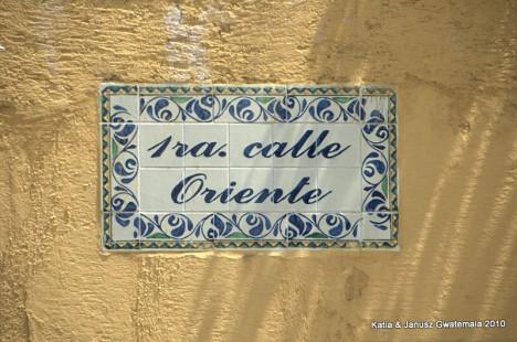 Gwatemala - Antigua nazwy ulic